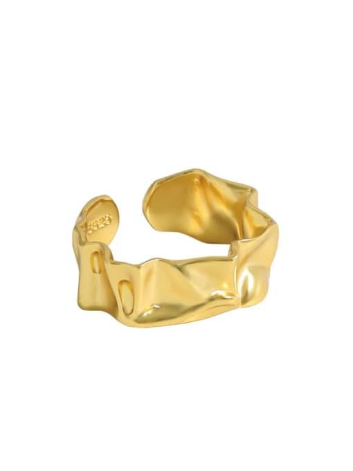 Gold [13 adjustable] 925 Sterling Silver Irregular Vintage Band Ring